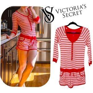 Victoria's Secret Candy Cane Stripe Romper PJ MED